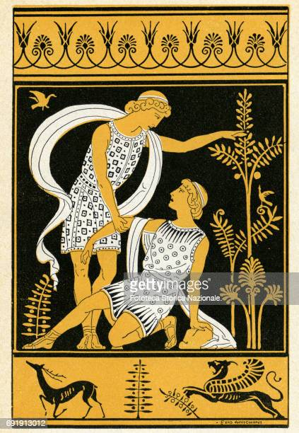 Illustration shows Agamemnon and his brother Menelaus fleeing usurper Aegisthus Italy 1911 Inspired by the vase painting the illustration appeared in...
