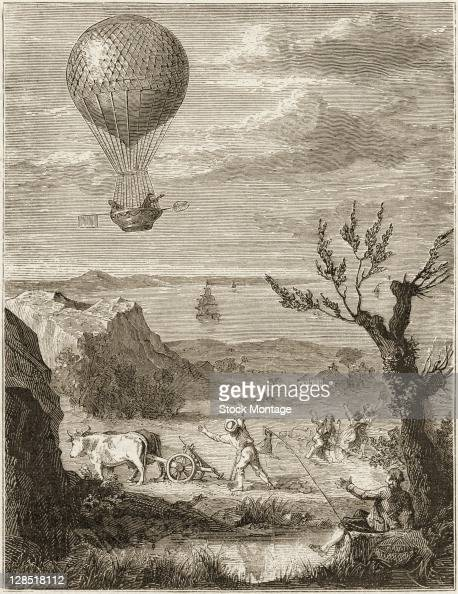 Illustration shows French inventor and aeronaut JeanPierre Blanchard and American physician and scientist John Jefferies in flight above the Dover...