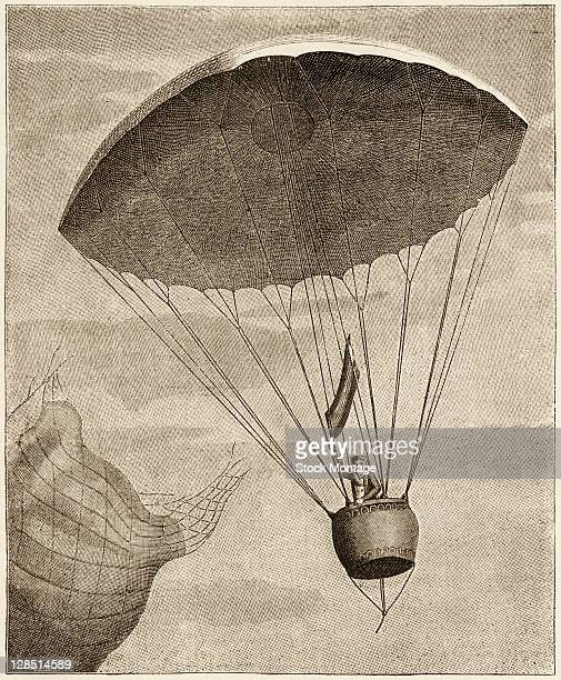 Illustration shows French inventor and aviator AndreJacques Garnerin as he descends from a balloon using a parachute Paris France October 27 1797 The...