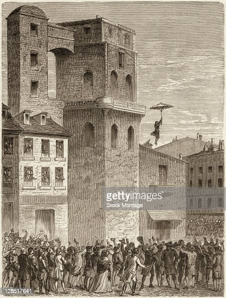 Illustration shows French inventor and parachutist LouisSebastien Lenormand as he descends from the tower of the Montpellier Observatory using a...