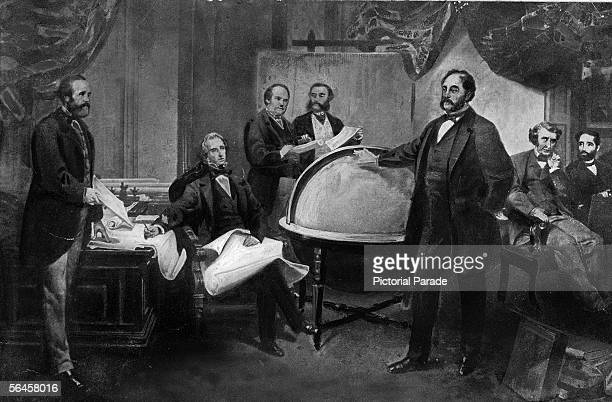 Illustration shows Russian and American diplomats as they sign the Treaty of Cession whereby the United States bought Alaska from the Russian Empire...