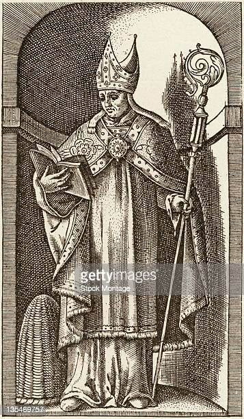 Illustration shows Saint Ambrose an Italian leader in the Catholic Church and Bishop of Milan