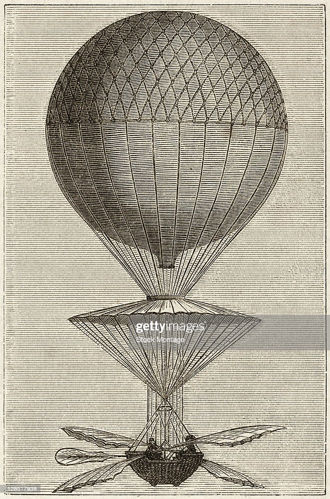 Illustration shows the first balloon ascent of French inventor and aeronaut JeanPierre Blanchard Paris France March 2 1784