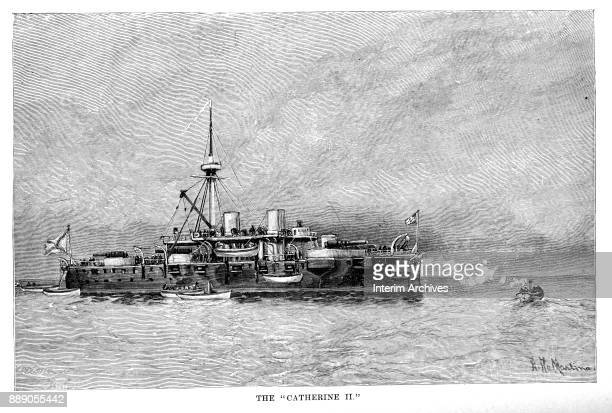 Illustration shows the Russian Navy's armorclad battleship Catherine II The illustration appeared in the 1888 book 'Modern Ships of War'