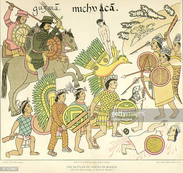 Illustration shows the Spanish Conquistadroes and their Tlaxcalan Indian allies as they attack the Tarascan home city of Michoacan from a drawing in...