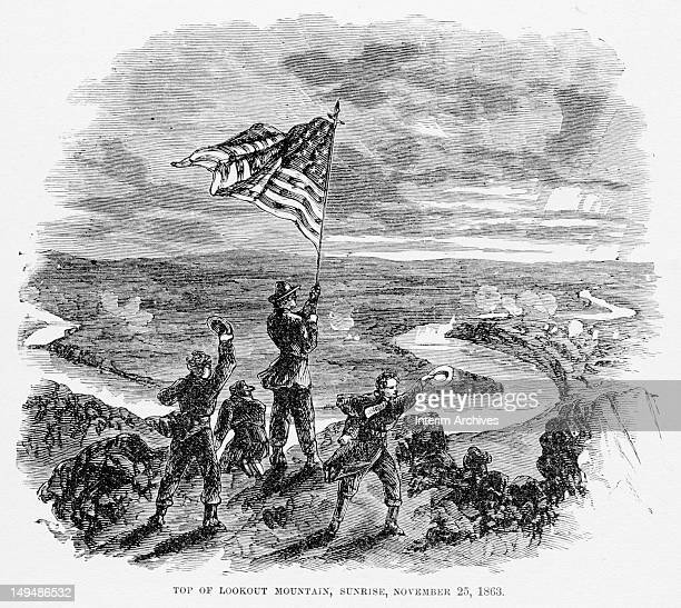Illustration shows Union Army soldiers atop Lookout Mountain as they wave a US flag in victory on the morning after the main day of battle near...