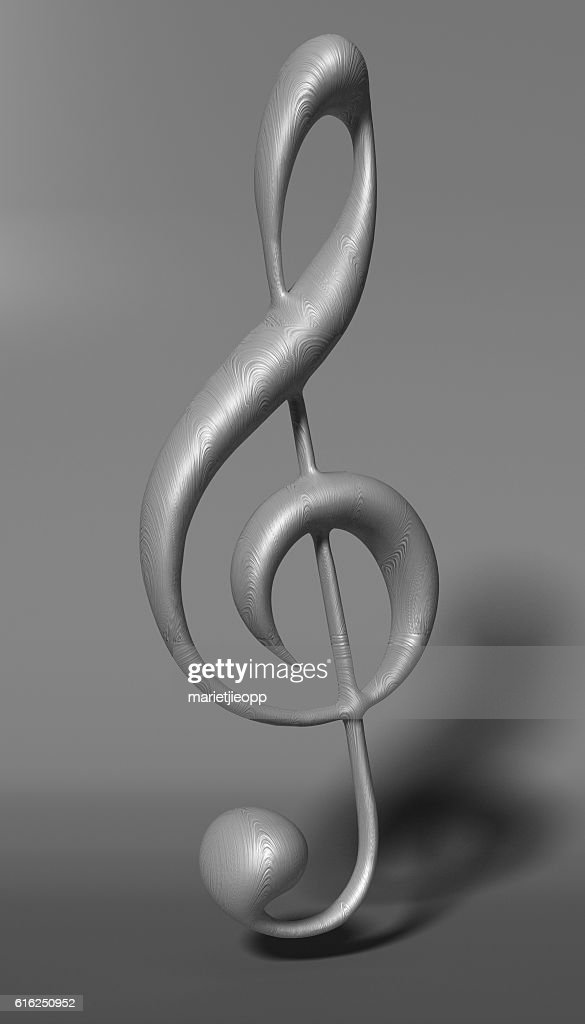 3D Illustration. Silver treble clef on white material background : Stock-Foto