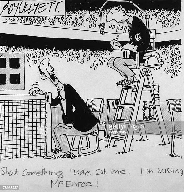 Illustration Sport Tennis The Roy Ullyett Collection Original pen and ink cartoon drawn for the Daily Express and published on 18th October 1983