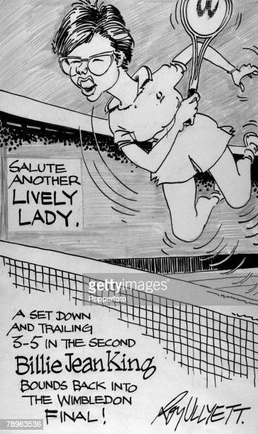 Illustration Sport Tennis The Roy Ullyett Collection Original pen and ink cartoon drawn for the Daily Express and published on 5th July 1968 Refers...