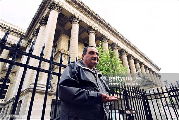 Illustration stock exchange of Paris In France On June 26 2002 Homeless in front of stock exchange of Paris