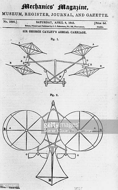 Illustration taken from 'Mechanics Magazine' Sir George Cayley English amateur scientist and aviation pioneer was responsible for designing the first...