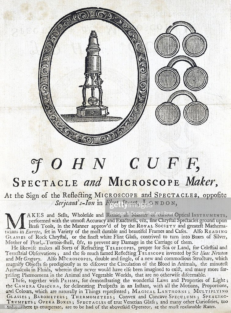 Illustration taken from 'Particulars of Microscopes' by John Cuff published in 1743 Cuff was a London maker of optical instruments whose microscopes...