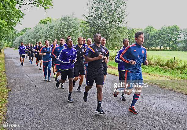 Illustration team and Seegers Jurgen physical trainer of Rsc Anderlecht pictured during the morning run of RSC Anderlecht at the Bilderberg hotel in...