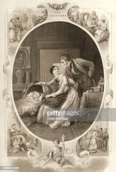 Illustration titled 'The Constant' depicting idealized scenes of family life in the United States during the 1800's An illustration published in 1851