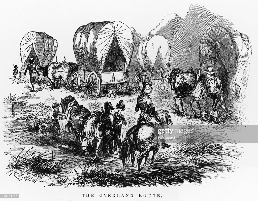 Illustration titled 'The Overland Route' depicting a wagon train taking a rest taken from 'Life On The Plains' by Delano USA 1854