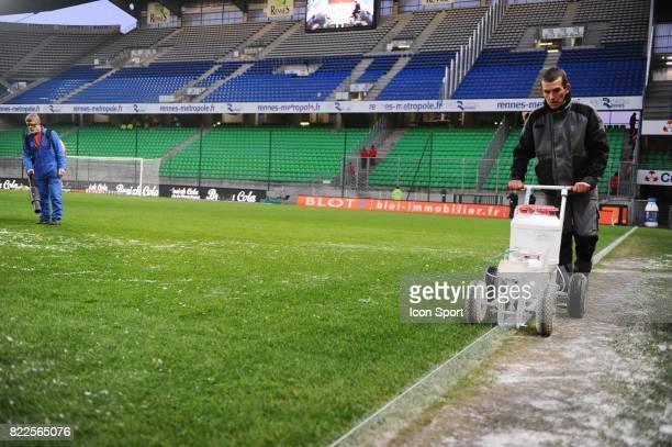 Illustration tracage des lignes Rennes / PSG 18eme journee de Ligue 1 Stade de la route de Lorient