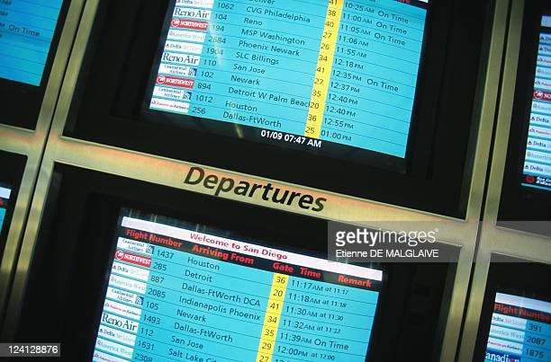 Illustration US airports In Pittsburgh United States In March 1999 Departures Board at Pittsburgh Airport