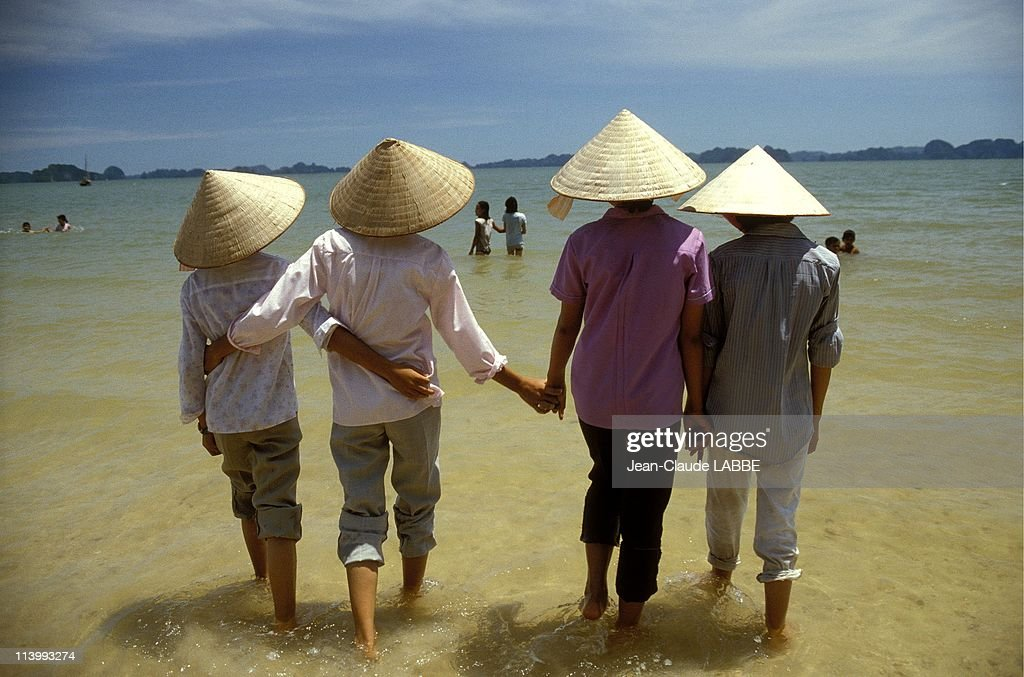 Illustration Vietnam from north to south in Quang Ninh Vietnam in May 1994Along Bay