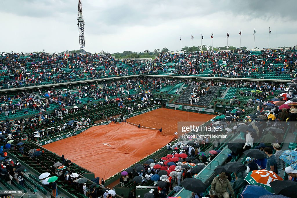 Illustration view of Central Court during a Storm during Day Seven of the 2016 French Tennis Open at Roland Garros on May 28, 2016 in Paris, France.