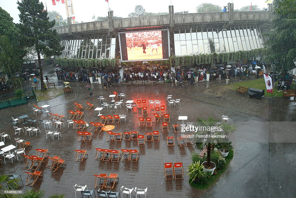 Illustration view of 'Place des Mousquetaire' during a Big Storm during Day Seven of the 2016 French Tennis Open at Roland Garros on May 28, 2016 in Paris, France.