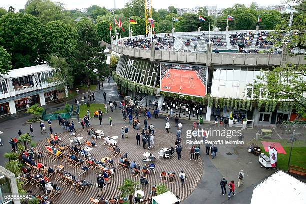 Illustration view of 'Place des Mousquetaire' with match of Wawrinka on the screen during the 2016 French Tennis Open Day Two at Roland Garros on May...