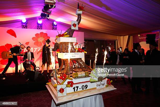 Illustration view of the Birthday Cake during the Kenzo Takada's 50 Years of Life in Paris Celebration at Restaurant Le Pre Catelan on September 17...