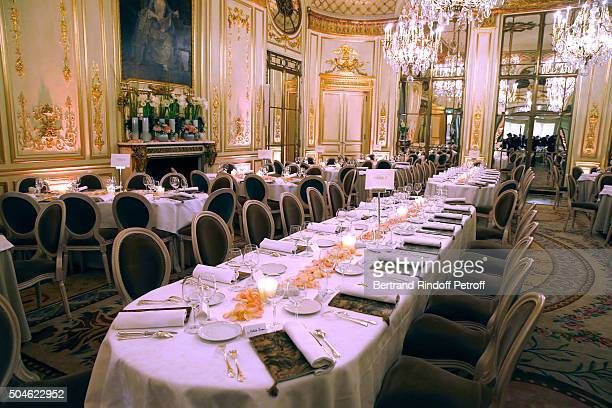 Illustration view of the Dinner place at Hotel Meurice during the 'Cesar Revelations 2016' Photocall at Chaumet followed by a dinner at Hotel Meurice...