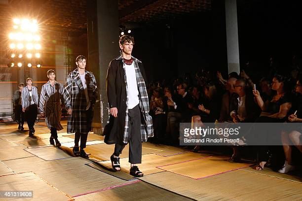Illustration view of the front row and models whyle the Cerruti show as part of the Paris Fashion Week Menswear Spring/Summer 2015 on June 27 2014 in...