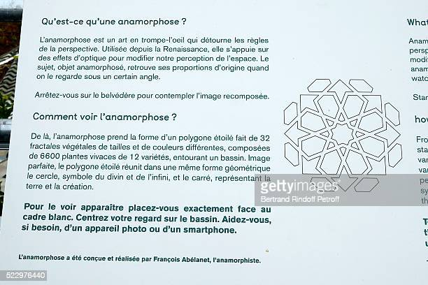 Illustration view of the notice of the 'Anamorphose' in the Ephemere Garden during the 'Jardins d'Orient' Exhibition at Institut du Monde Arabe on...