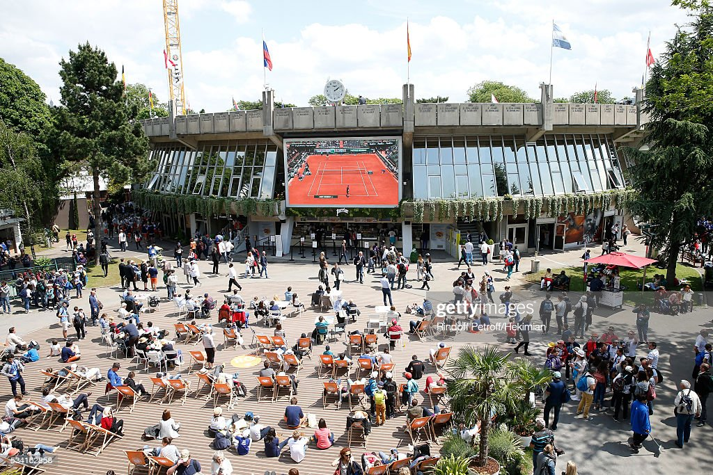 Illustration view of the Place des Mousquetaire during the 2016 French Tennis Open - Day Four at Roland Garros on May 25, 2016 in Paris, France.