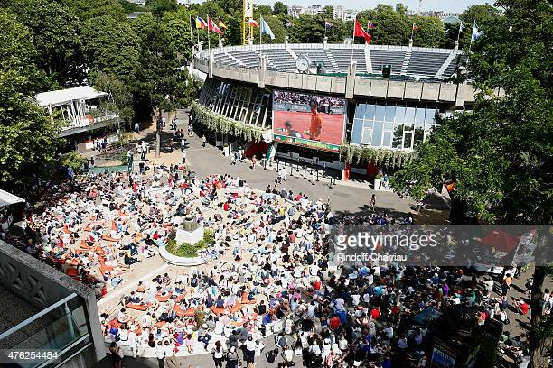 Illustration view of the 'Place des Mousquetaire' in Roland Garros during the Men Final of 2015 Roland Garros French Tennis Open Day Fithteen on June...
