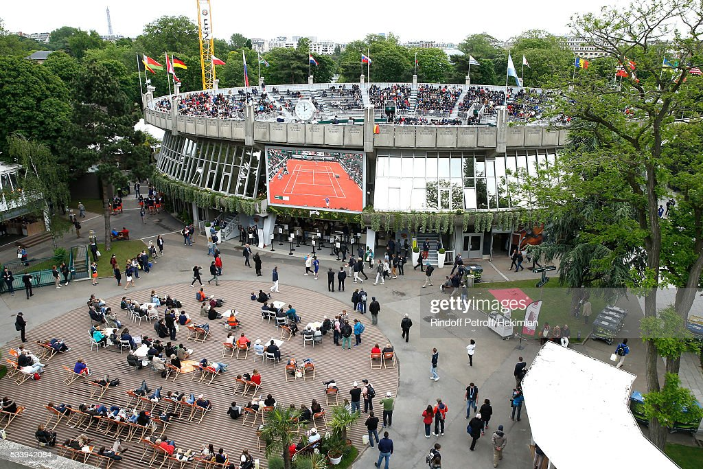 Illustration view of the Place des Mousquetaires during the 2016 French Tennis Open - Day Three at Roland Garros on May 24, 2016 in Paris, France.