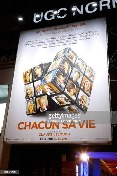 Illustration view of the poster during the 'Chacun sa vie' Paris Premiere at Cinema UGC Normandie on March 13 2017 in Paris France