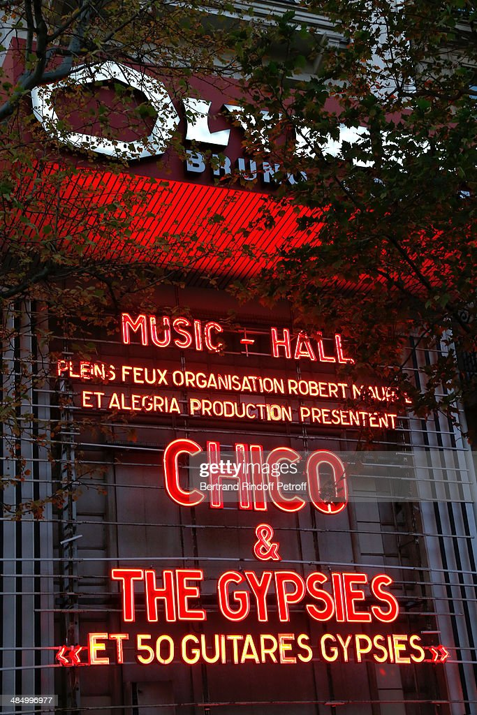 Illustration view of the poster of the Concert of 'Chico & The Gypsies' with 50 gypsy guitars at L'Olympia on April 15, 2014 in Paris, France.
