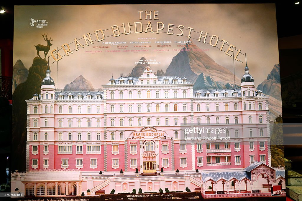 Illustration view of the poster whyle 'The Grand Budapest Hotel' Paris Premiere at Cinema Gaumont Opera Capucines on February 20, 2014 in Paris, France.