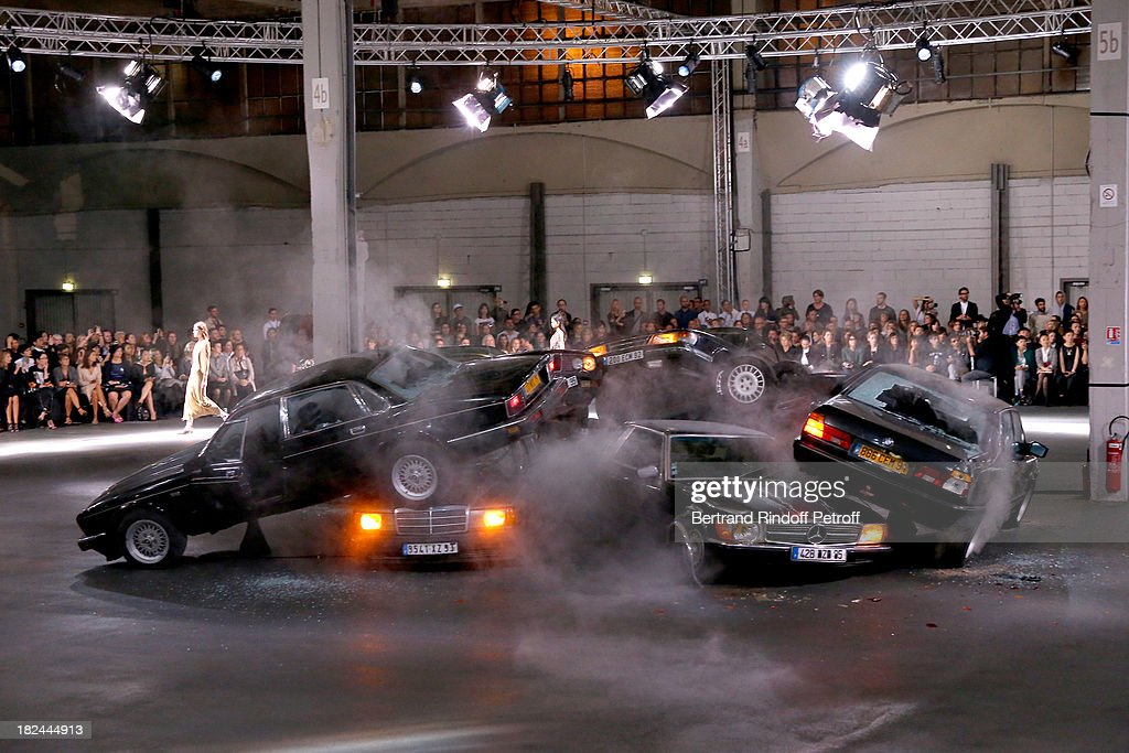 Illustration View of the runway during Givenchy show as part of the Paris Fashion Week Womenswear Spring/Summer 2014, held at 'la Halle Freyssinet' on September 29, 2013 in Paris, France.
