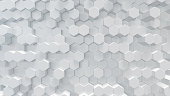 3D illustration white geometric hexagon abstract background. Surface hexagon pattern, hexagonal honeycomb
