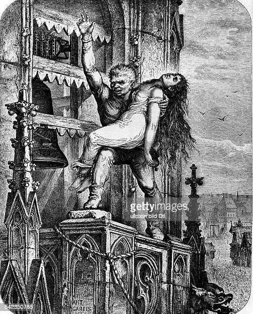 Illustration zu dem 'Glöckner vonNotre Dame' von Victor Hugo Quasimodo zeigt die befreite Esmeraldadem Volknach der Originalzeichnung von Anton Gareis