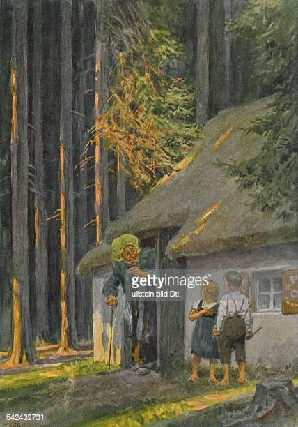 Illustration zu 'Hänsel und Gretel' einem Märchen aus den 'Kinder und Hausmärchen' 1812 1815 hrsg von Jacob und Wilhelm Grimm oJ hexe hexenhaus...