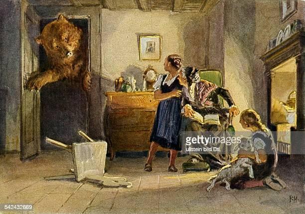 Illustration zu 'Schneeweißchen undRosenrot' einem Märchen aus den 'Kinderund Hausmärchen hrsg vonJacob und Wilhelm Grimm oJ