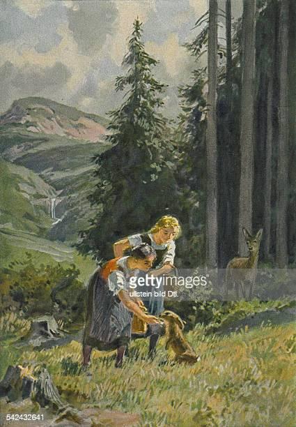 Illustration zu 'Schnweeweißchen und Rosenrot' einem Märchen aus den 'Kinder und Hausmärchen ' hrsg von Jacob und Wilhelm Grimm schwestern füttern...