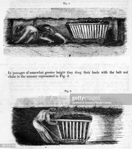 Illustrations from the Report of the Children's Employment Commission The top image shows a female in a low narrow tunnel leaning forward dragging a...