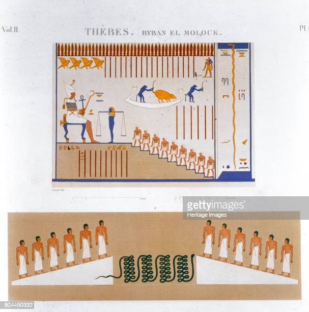 Illustrations of frescoes from Byban el Molouk Thebes Egypt 1822 Plate 83 from Vol II of Descriptions of Egypt Artist Jomard