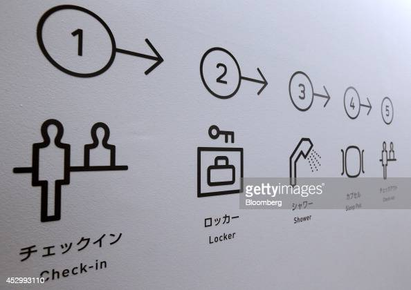 Illustrations on a wall show how to stay in the Nine Hours Narita Airport capsule hotel operated by nine hours Inc at Narita Airport in Narita Japan...