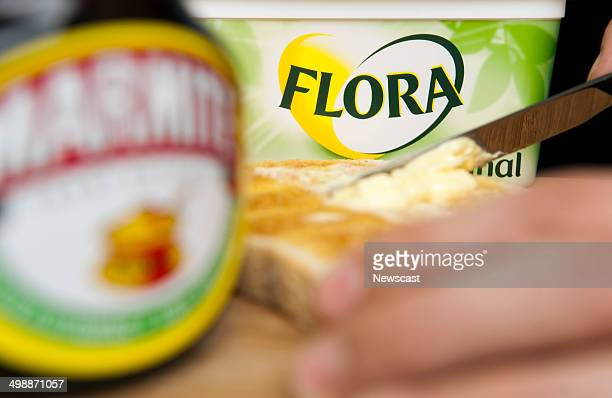 Illustrative image of Marmite and Flora Original spread two Unilever food products