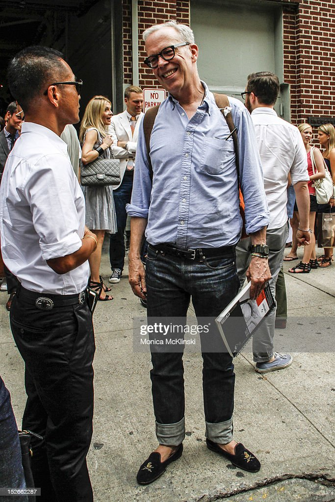 Illustrator and Blogger Richard Haines seen wearing a Uniqlo shirt, APC jeans, Stubbs & Wootton shoes, Duluth Pack knapsack and SEE eyeglsses outside the Duckie Brown showing at Industria Superstudio at Streets of Manhattan on September 6, 2012 in New York City.