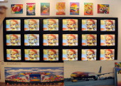 Illustrator and graphic artist Peter Max shows some of his work at his New York studio on June 18 2012 in New York City