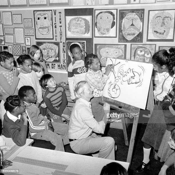 Illustrator artist and childrens television presenter Tony Hart giving thirt year pupils of Canberra Road Junior School White City some hints on...