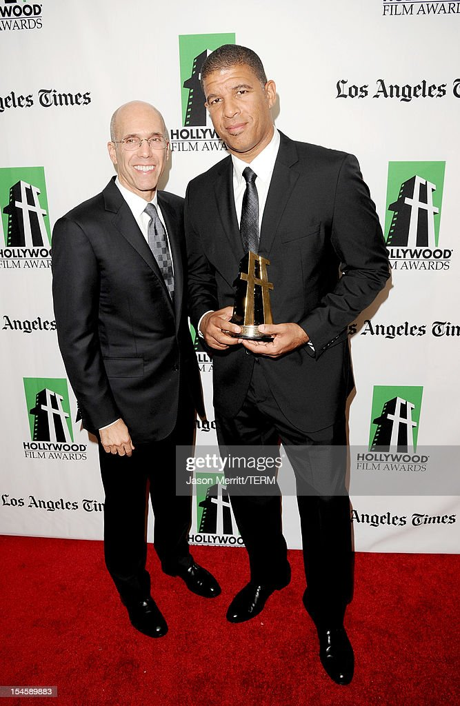 Illustrator Peter Ramsey (R), winner of the Hollywood Animation Award, and DreamWorks Animation CEO Jeffrey Katzenberg pose during the 16th Annual Hollywood Film Awards Gala presented by The Los Angeles Times held at The Beverly Hilton Hotel on October 22, 2012 in Beverly Hills, California.