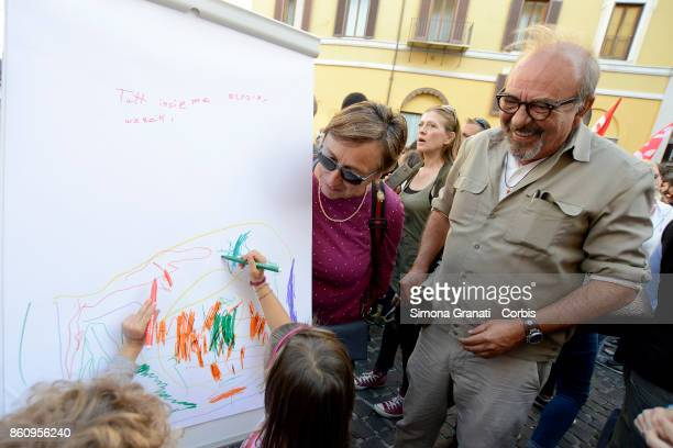 Illustrator Vauro Senesi with Sons and daughters of immigrants together with students teachers and parents in Piazza Montecitorio for Citizenship Day...